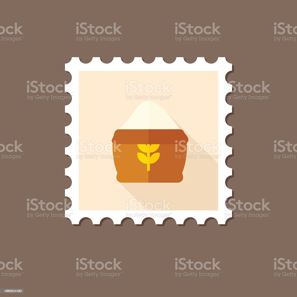 Sack of flour flat stamp with long shadow vector art illustration