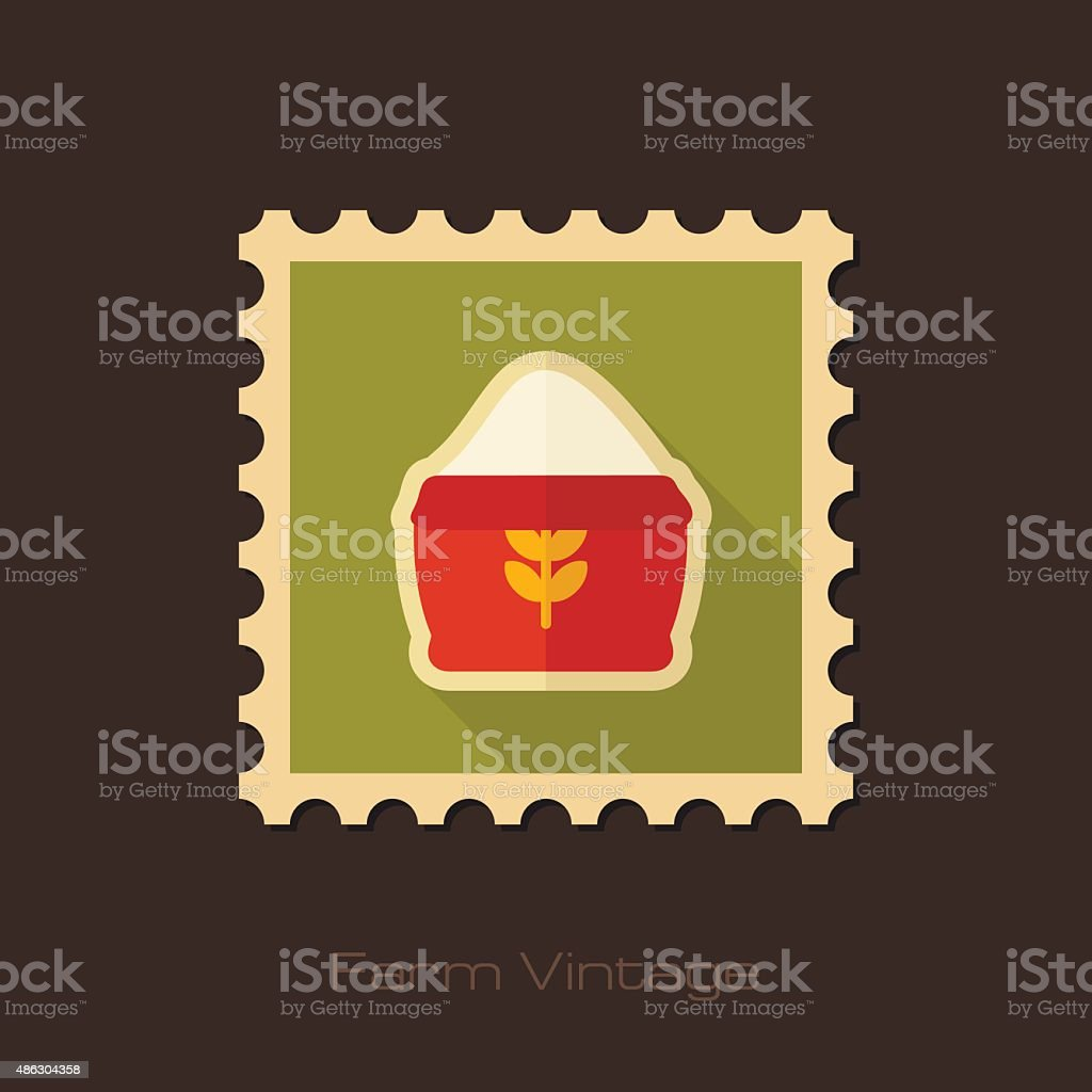 Sack of flour retro flat stamp with long shadow vector art illustration