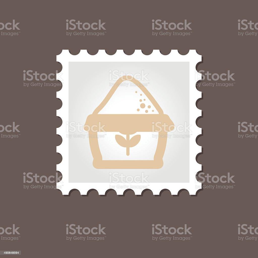 Sack of flour stamp. Outline vector illustration vector art illustration