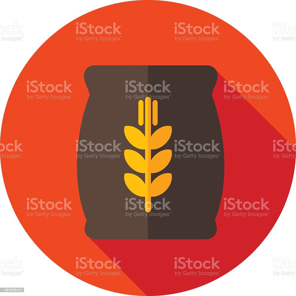 Sack of grain flat icon with long shadow vector art illustration