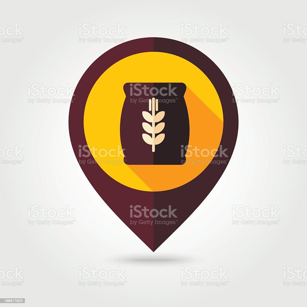 Sack of grain flat mapping pin icon vector art illustration
