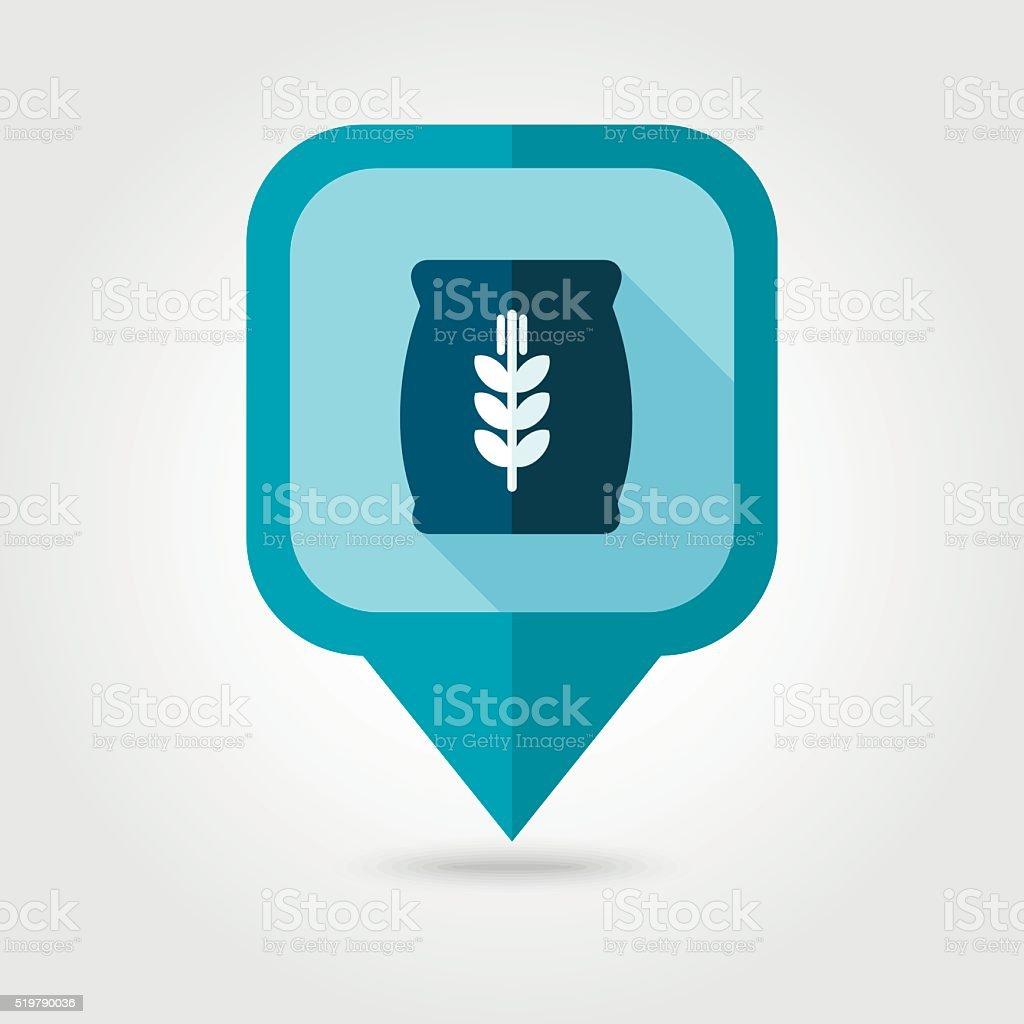 Sack of grain flat pin map icon. Map pointer vector art illustration