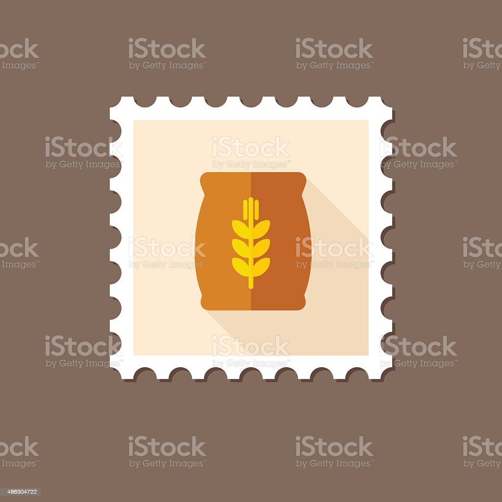 Sack of grain flat stamp with long shadow vector art illustration
