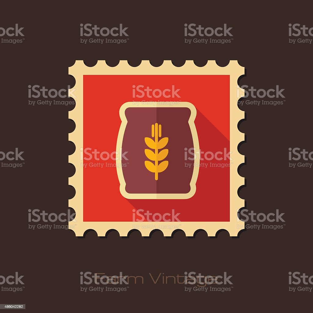 Sack of grain retro flat stamp with long shadow vector art illustration