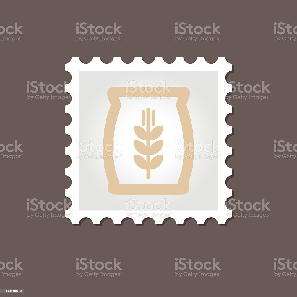 Sack of grain stamp. Outline vector illustration vector art illustration