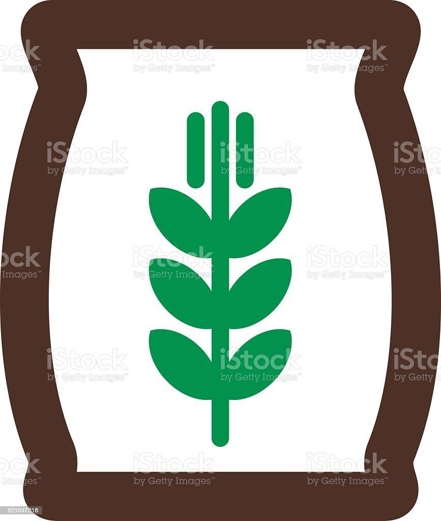 Sack of grain vector icon. Farm vector art illustration