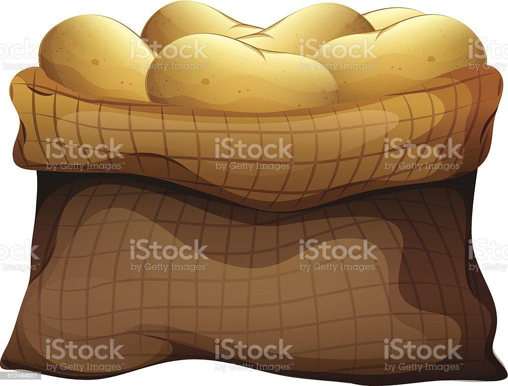 Sack of potatoes vector art illustration