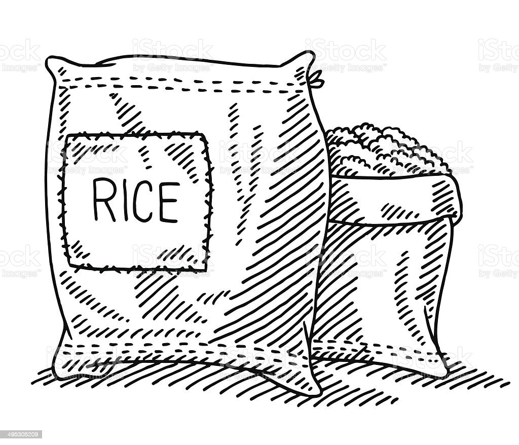 Sack Of Rice Drawing vector art illustration