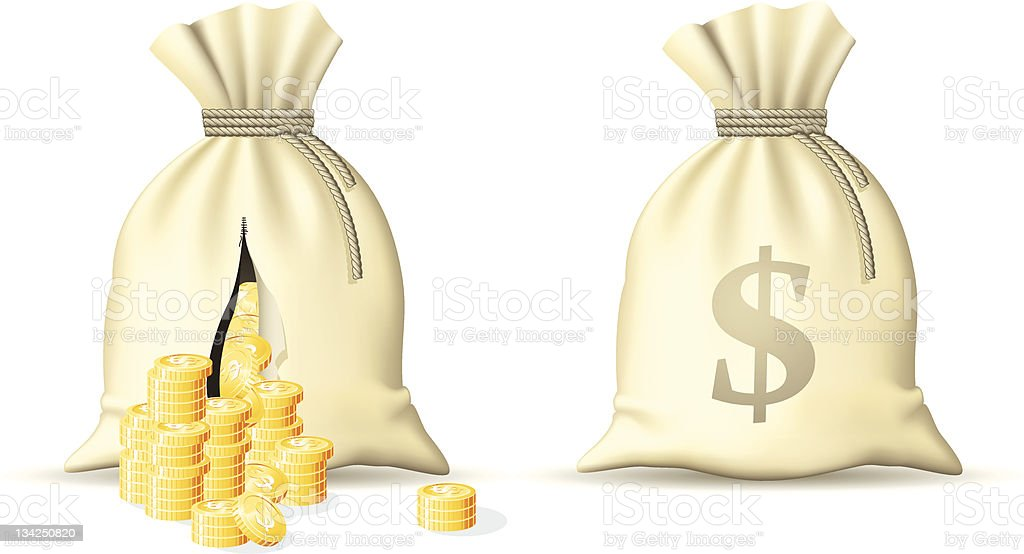 Sack with money vector art illustration