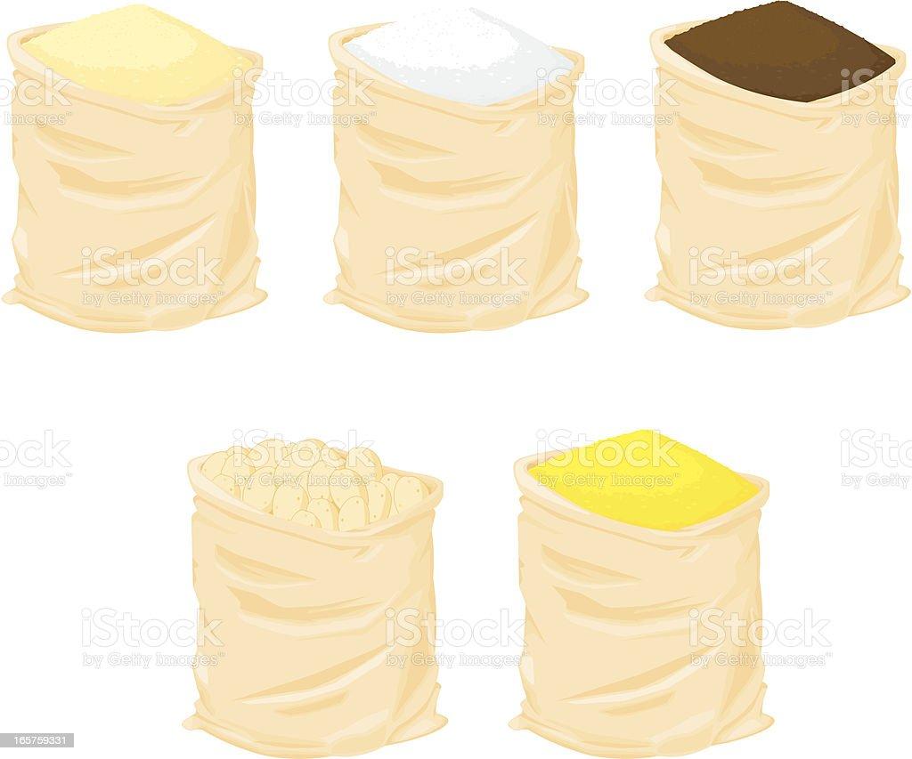 Sacks of food vector art illustration