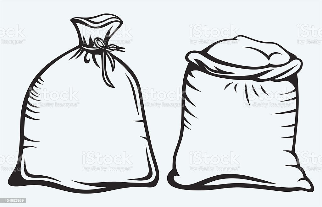 Sacks of grain vector art illustration