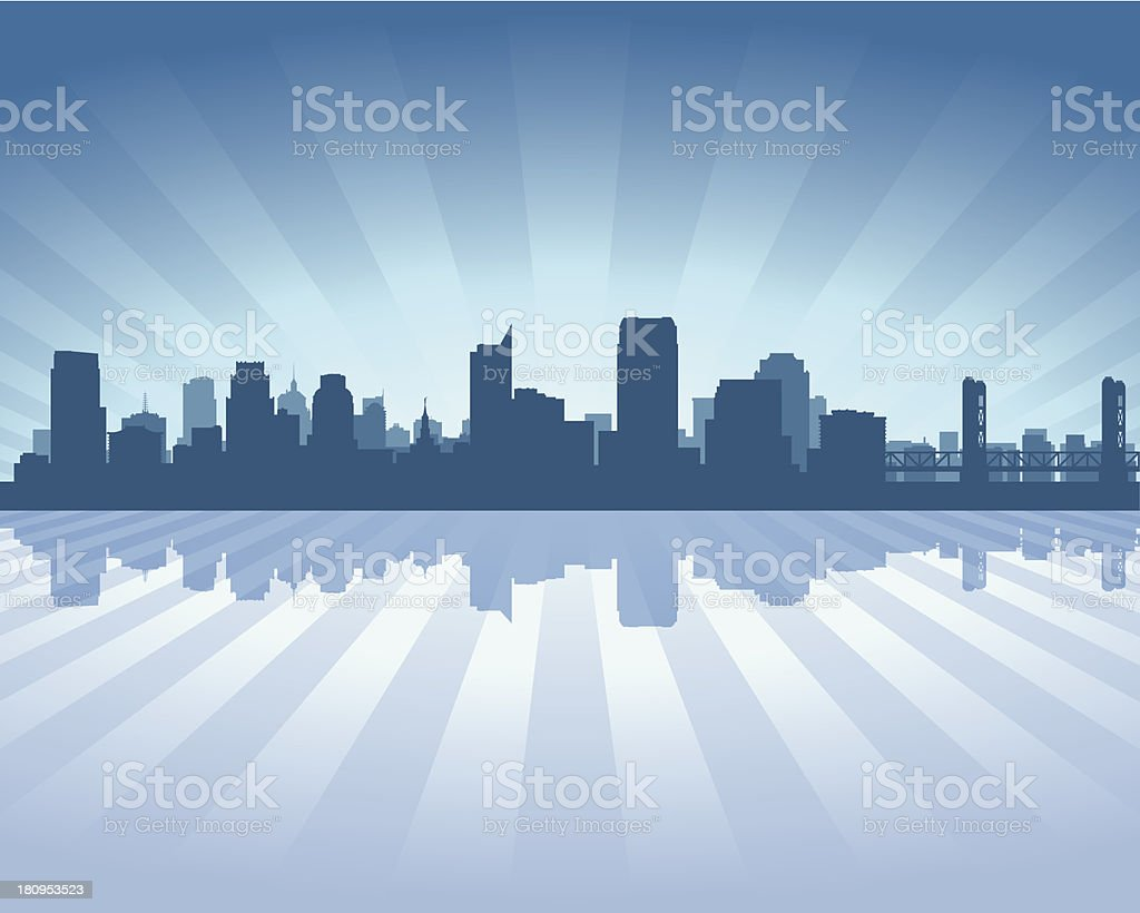 Sacramento Blue City skyline silhouette vector art illustration