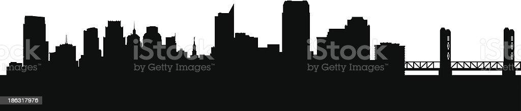 Sacramento California city skyline silhouette vector art illustration