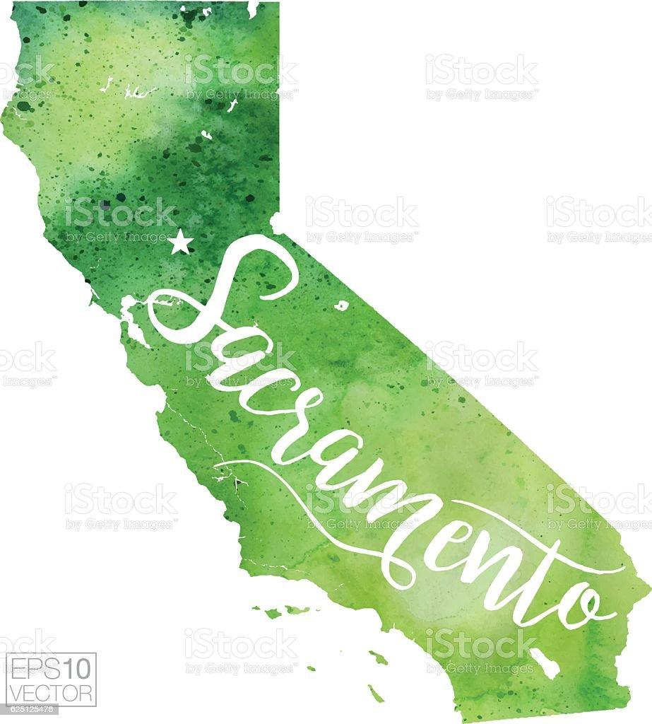 Sacramento, California USA Vector Watercolor Map vector art illustration