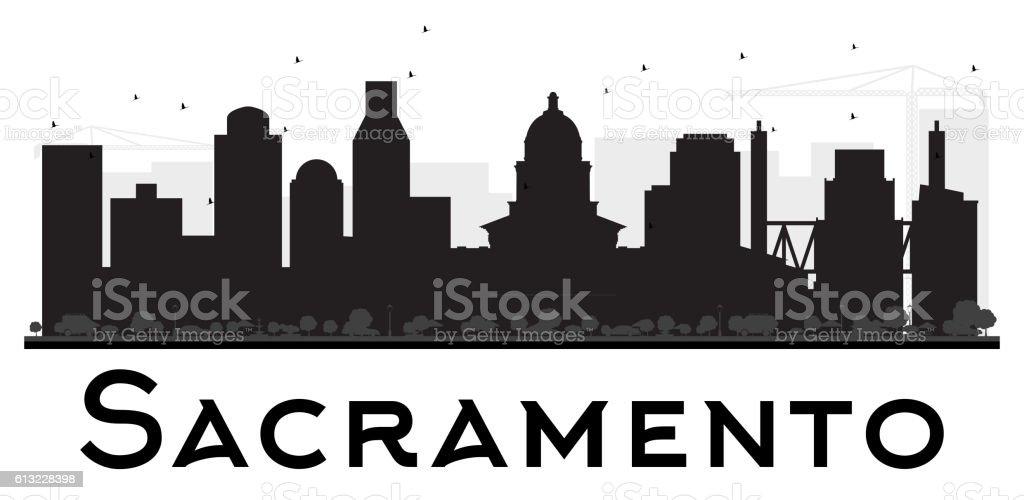 Sacramento City skyline black and white silhouette. vector art illustration