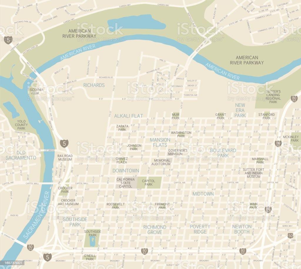 Sacramento Downtown Map vector art illustration