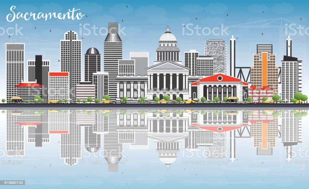 Sacramento Skyline with Gray Buildings, Blue Sky and Reflections vector art illustration