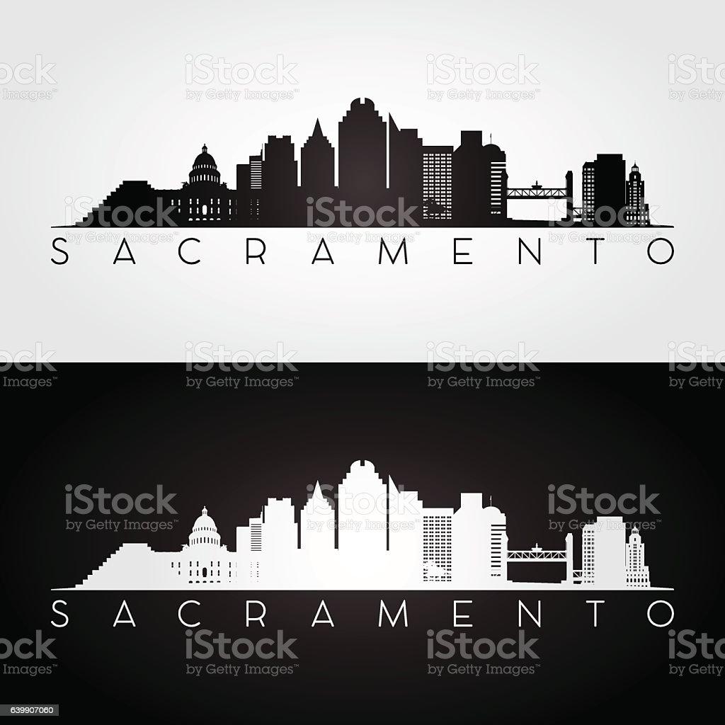 Sacramento USA skyline and landmarks silhouette. vector art illustration