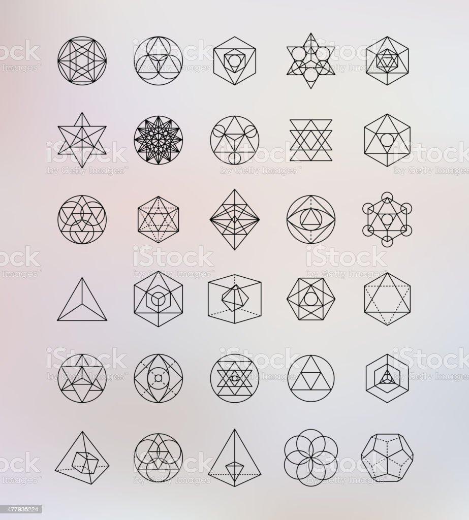 Sacred geometry. Alchemy, religion, philosophy, spirituality, hipster symbols and elements vector art illustration