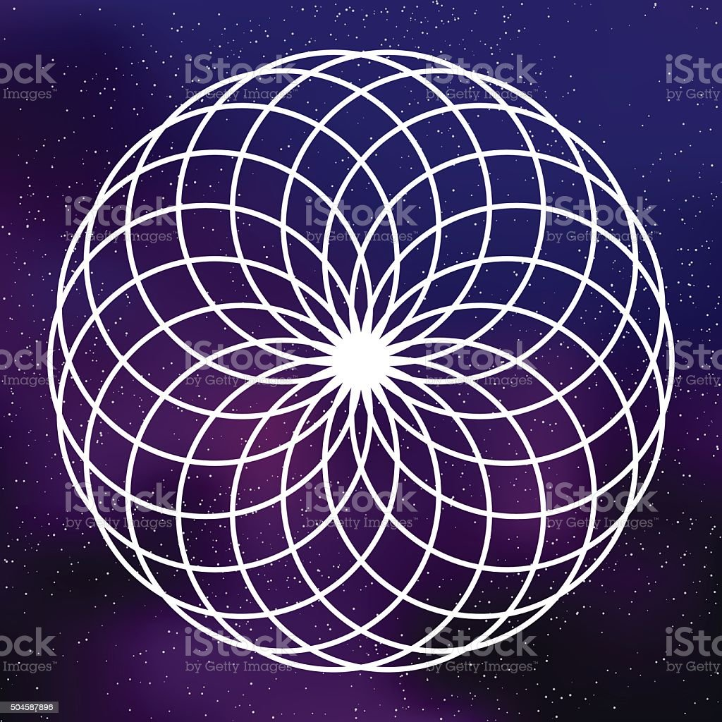 Sacred Geometry Circles Icon on a Galactic Background vector art illustration
