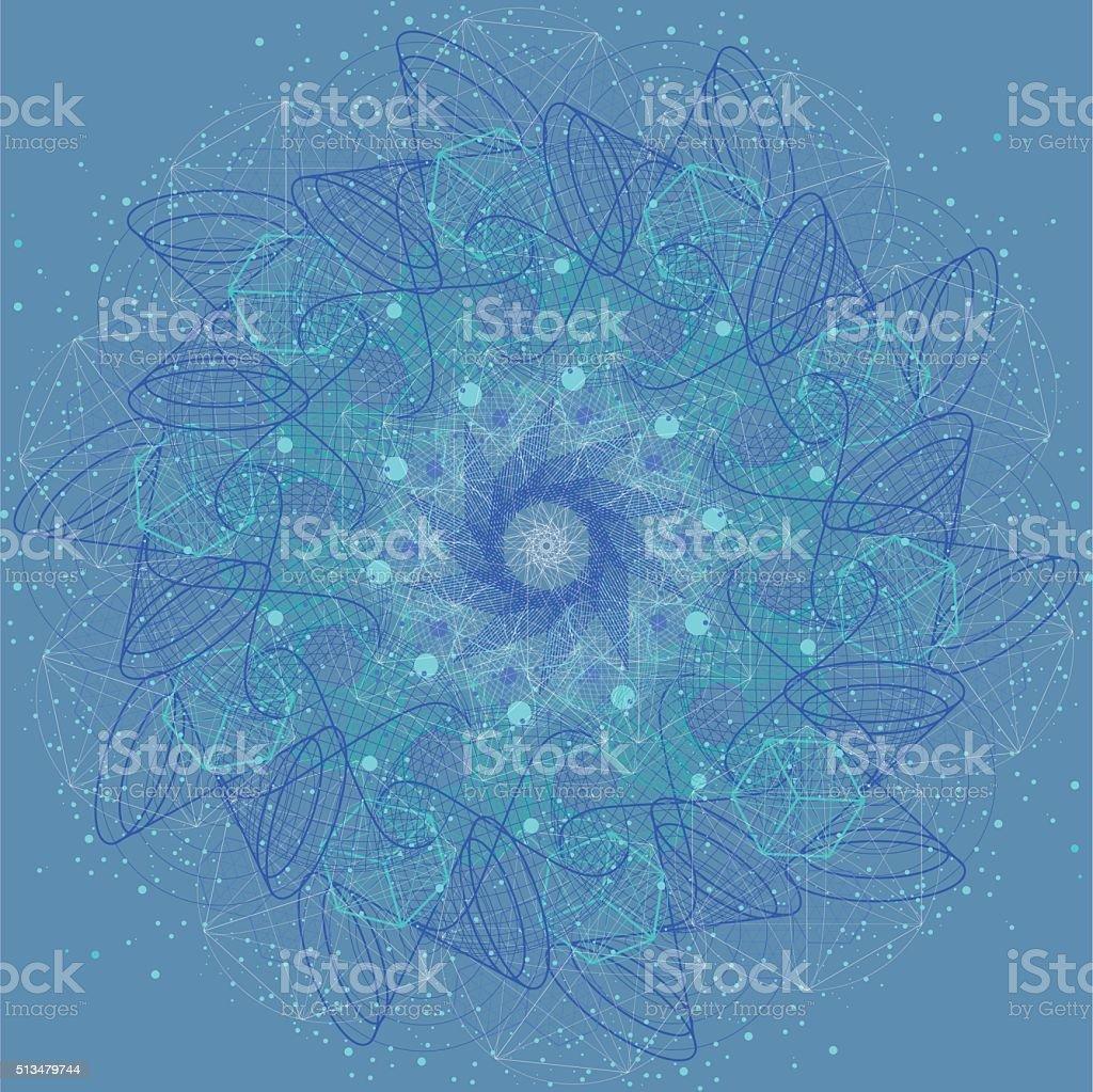 Sacred geometry cosmic mandala. Alchemy, religion, philosophy vector art illustration