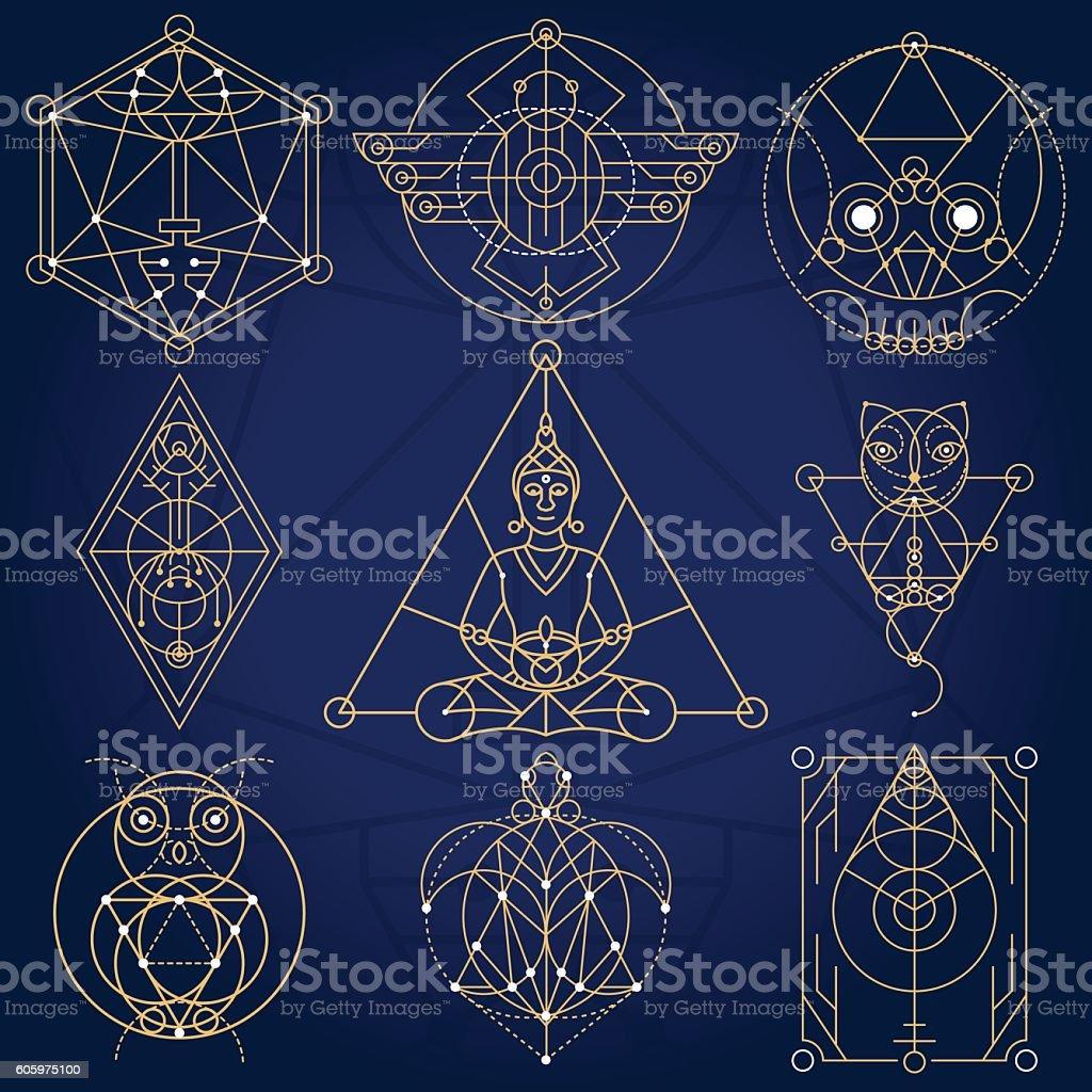 Sacred Geometry Fictional Symbols vector art illustration