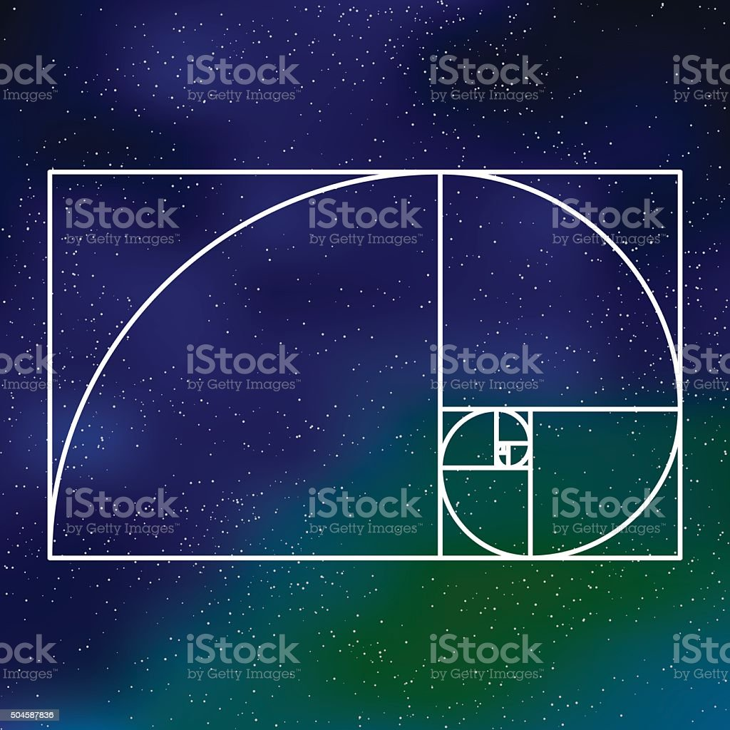 Sacred Geometry Golden Section Icon on a Galactic Background vector art illustration