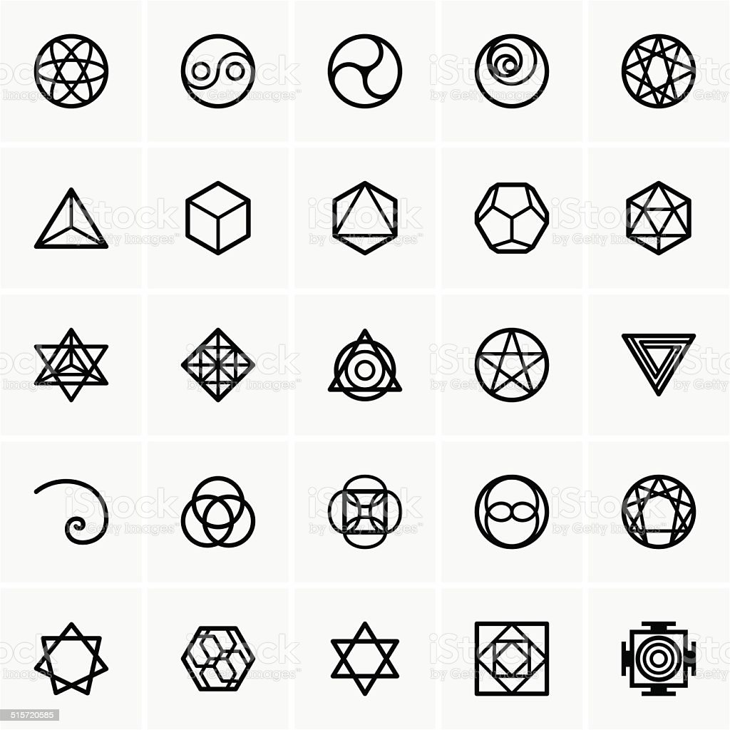 Sacred geometry icons vector art illustration