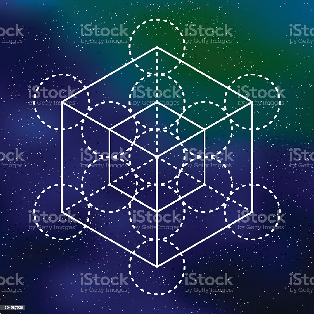 Sacred Geometry Metatron's Cube Icon on a Galactic Background vector art illustration