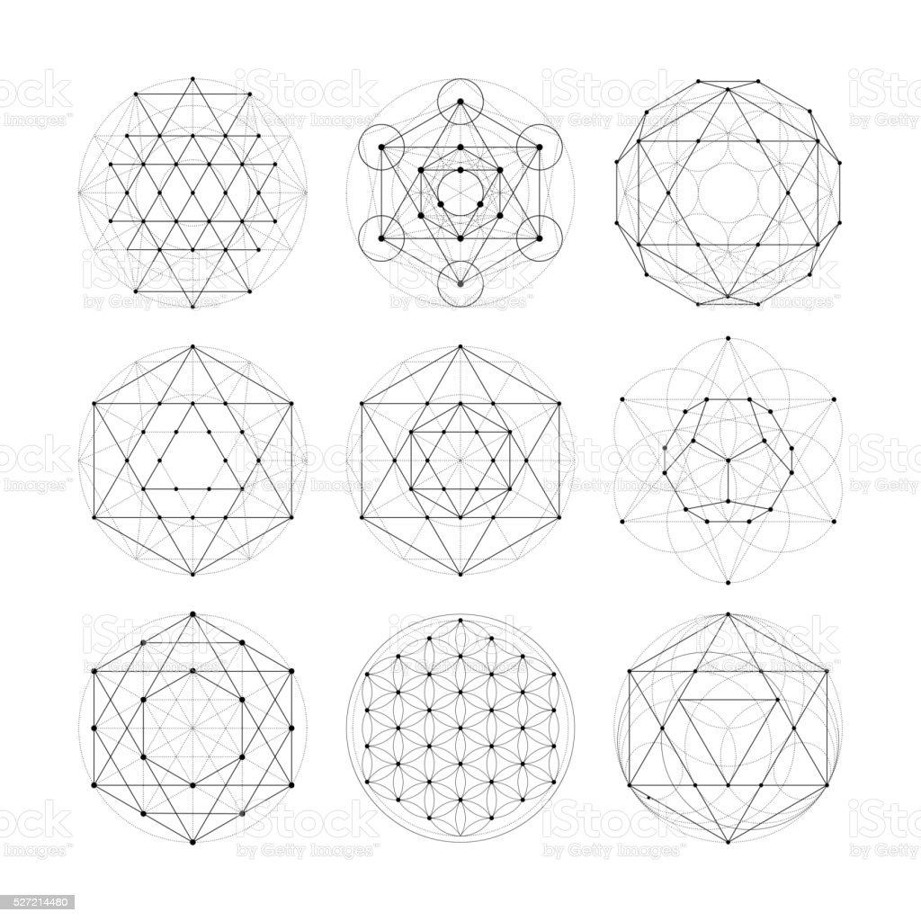 Sacred geometry. Numerology astrology signs and symbols vector art illustration