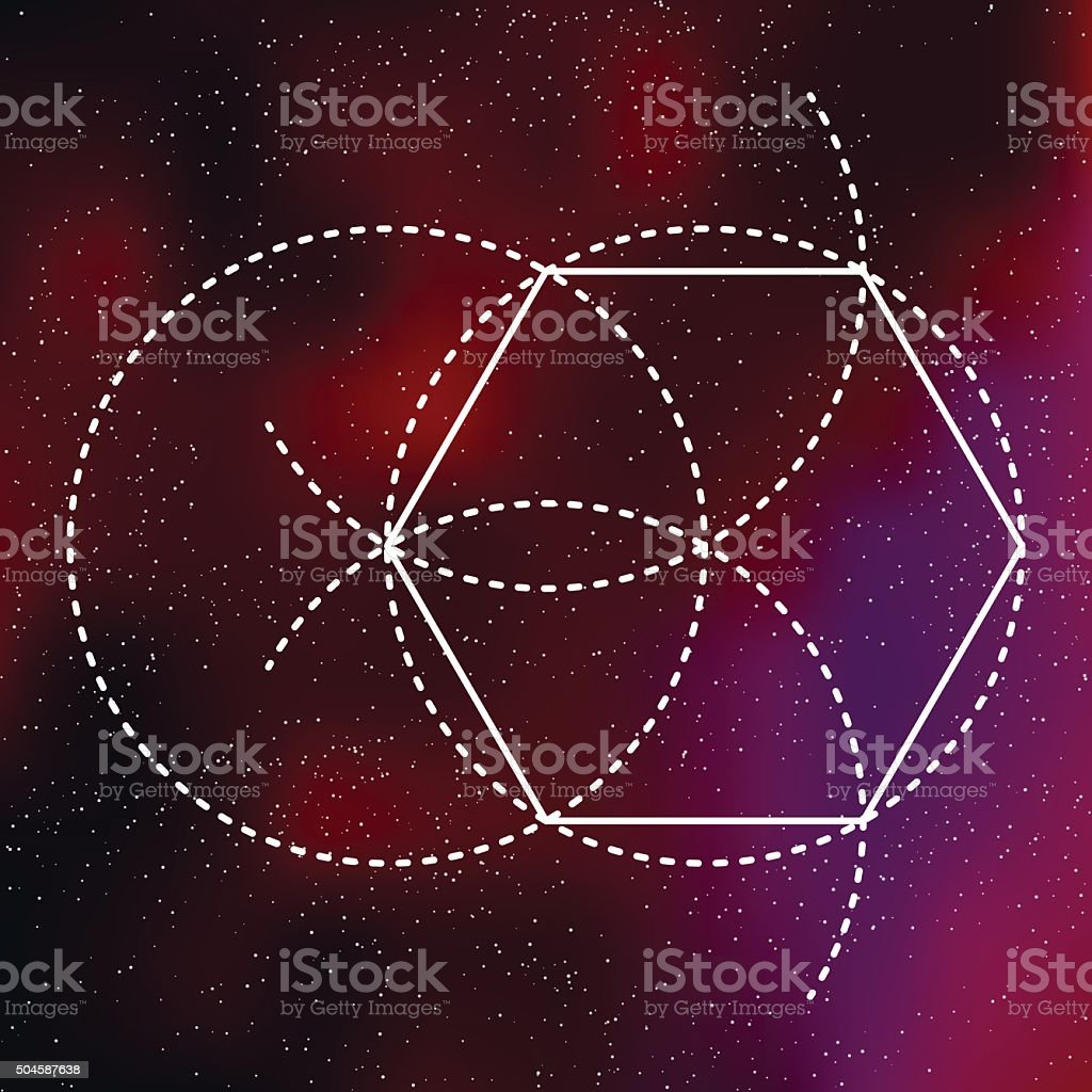 Sacred Geometry Pentagon Icon on a Galactic Background vector art illustration