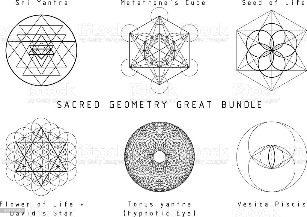 Sacred Geometry Set vector art illustration