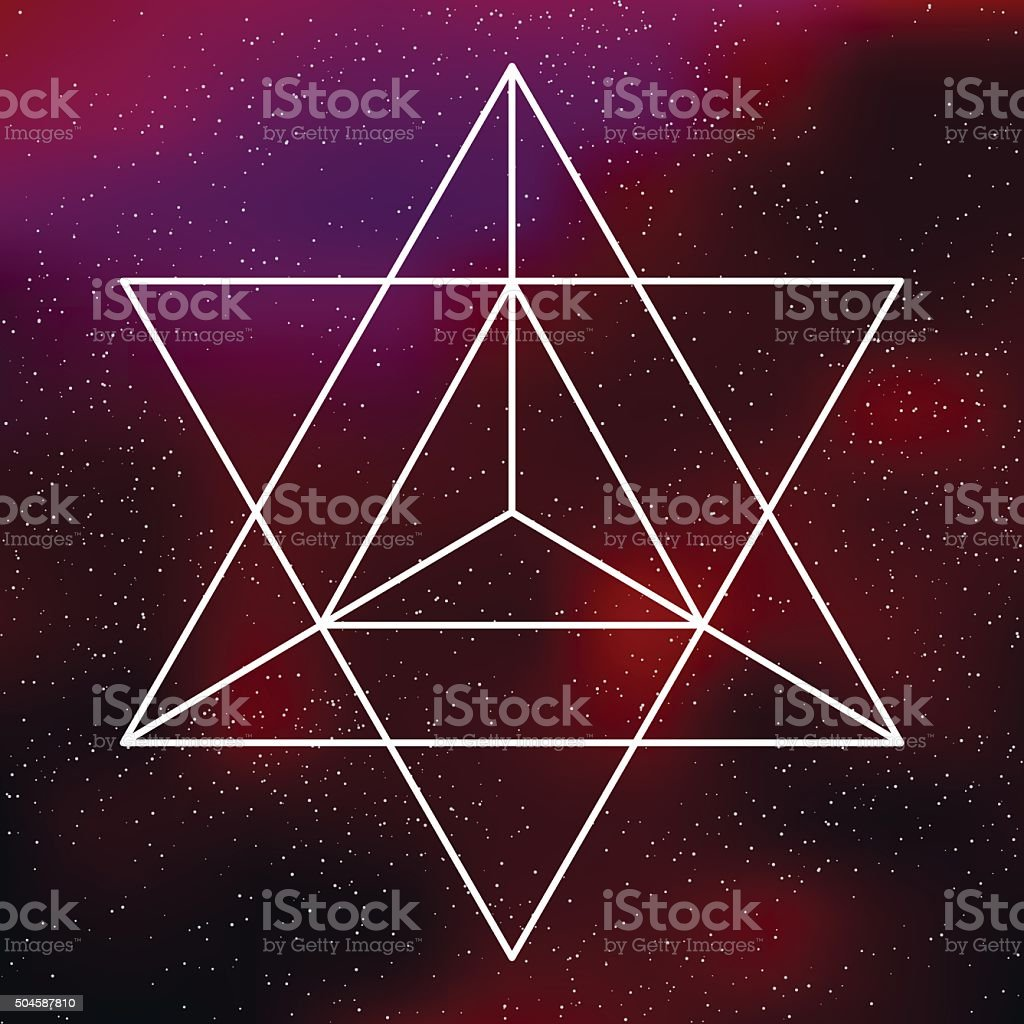 Sacred Geometry Star Tetrahedron Icon on a Galactic Background vector art illustration