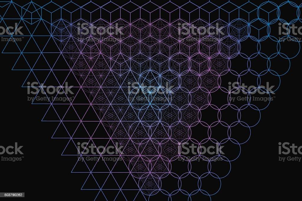Sacred geometry symbols and elements background. vector art illustration