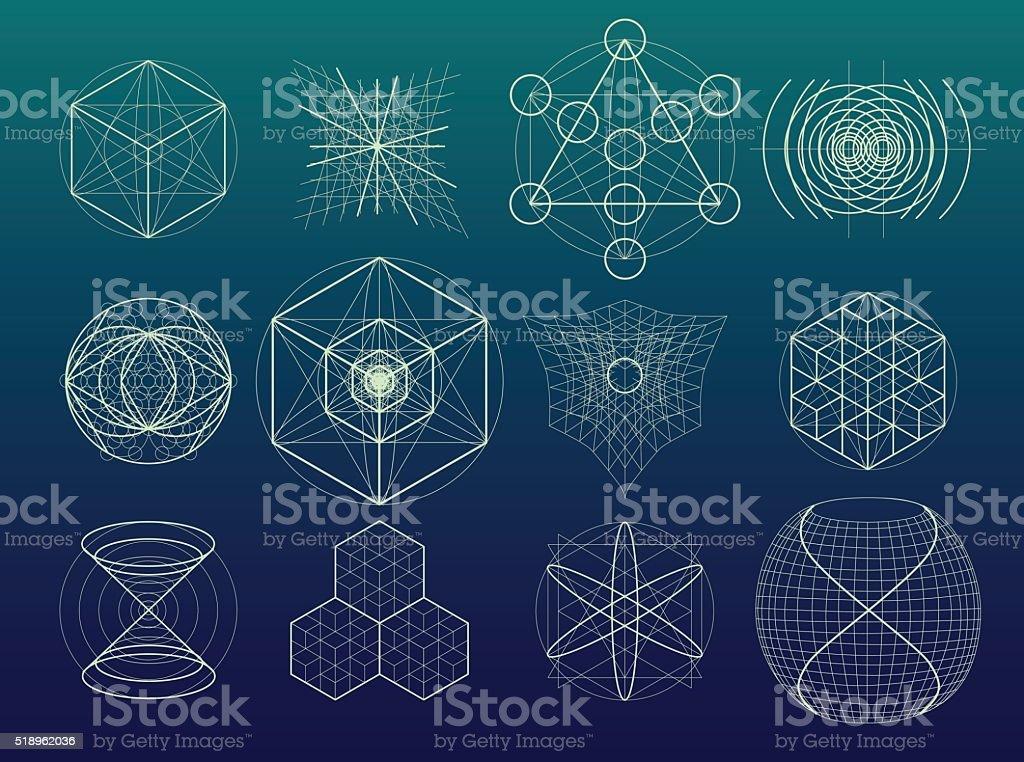 Sacred geometry symbols and elements set. vector art illustration