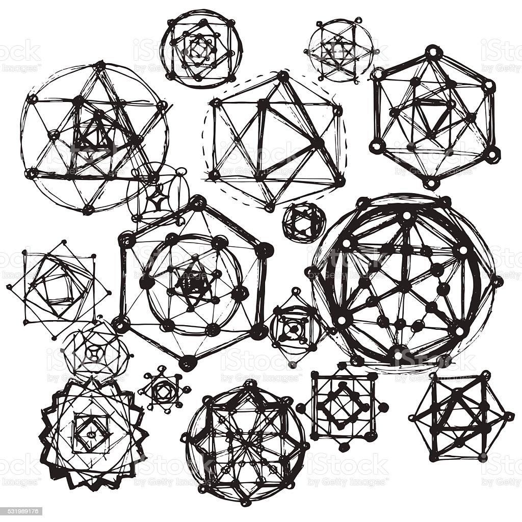 Sacred geometry symbols and elements. vector art illustration