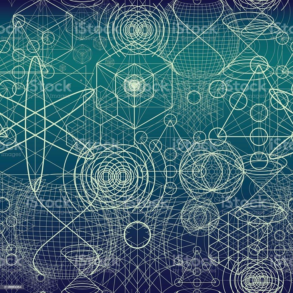 Sacred geometry symbols and elements wallpaper seamless pattern vector art illustration