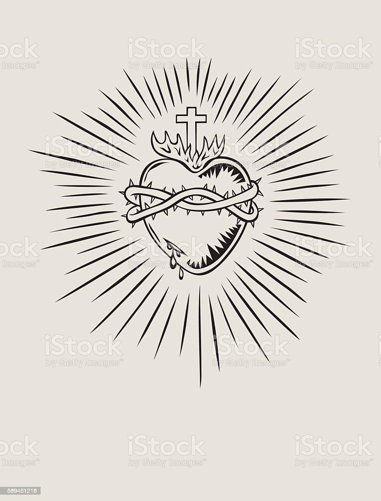 Sacred Heart of Jesus vector art illustration