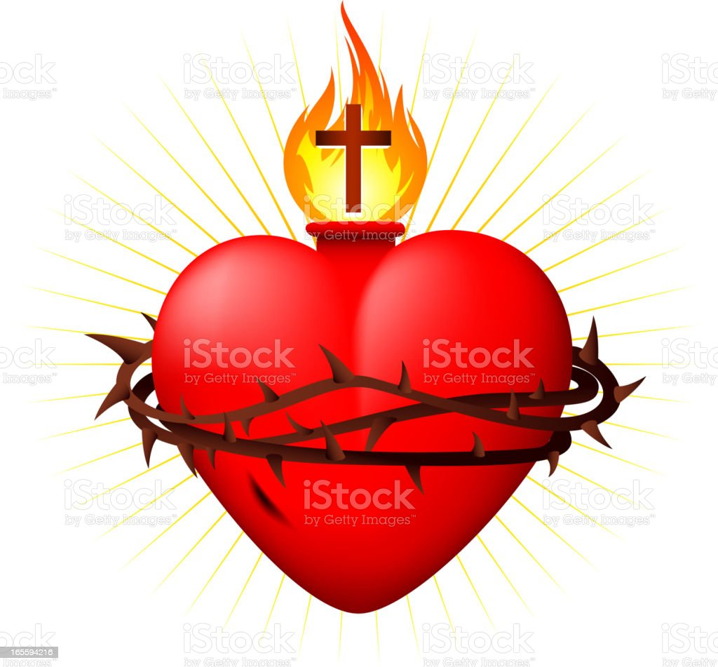 Sacred heart vector art illustration