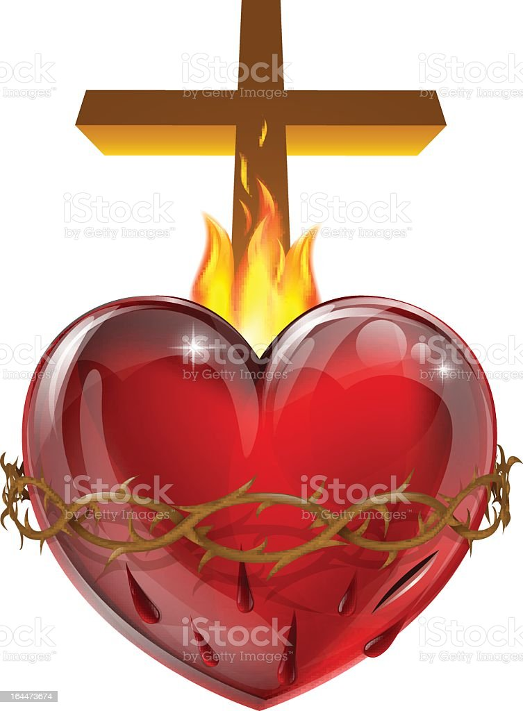 Sacred heart with cross and flames vector art illustration
