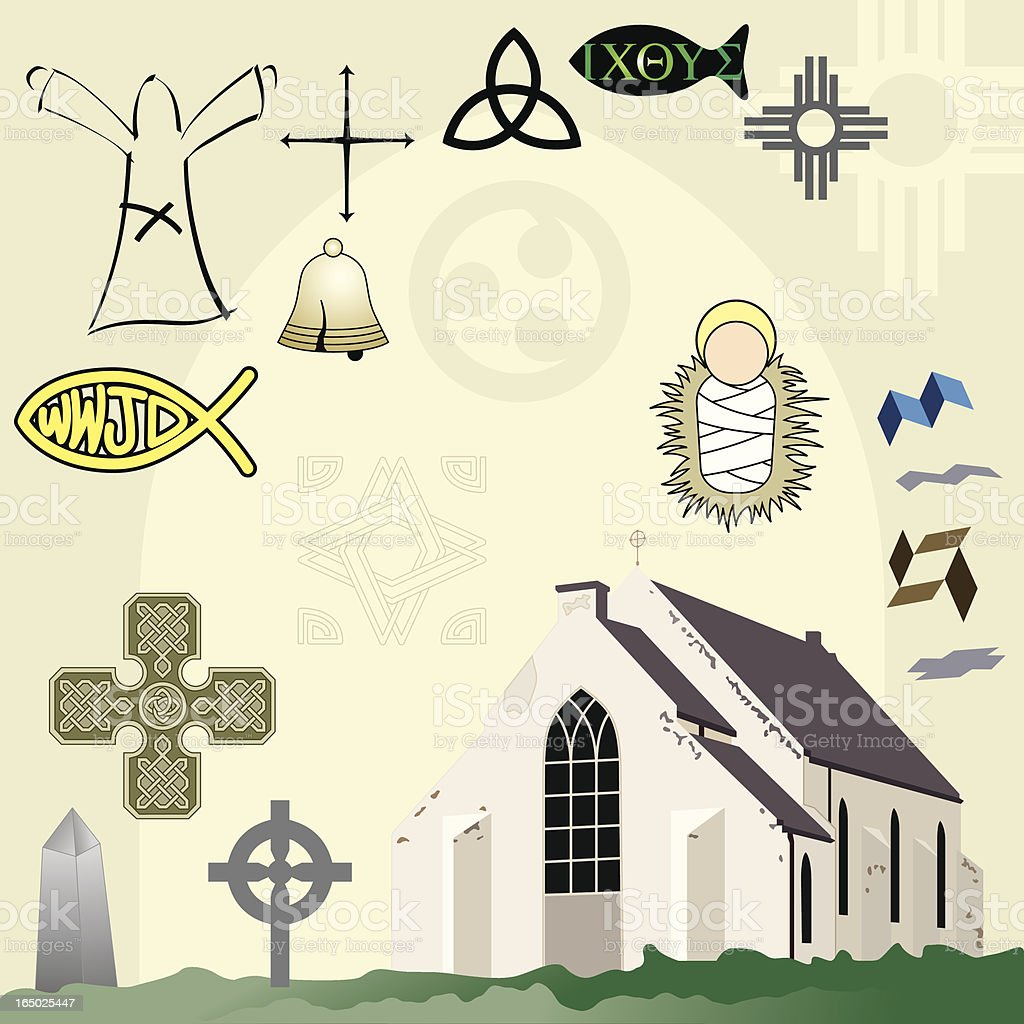 Sacred Icons vector art illustration