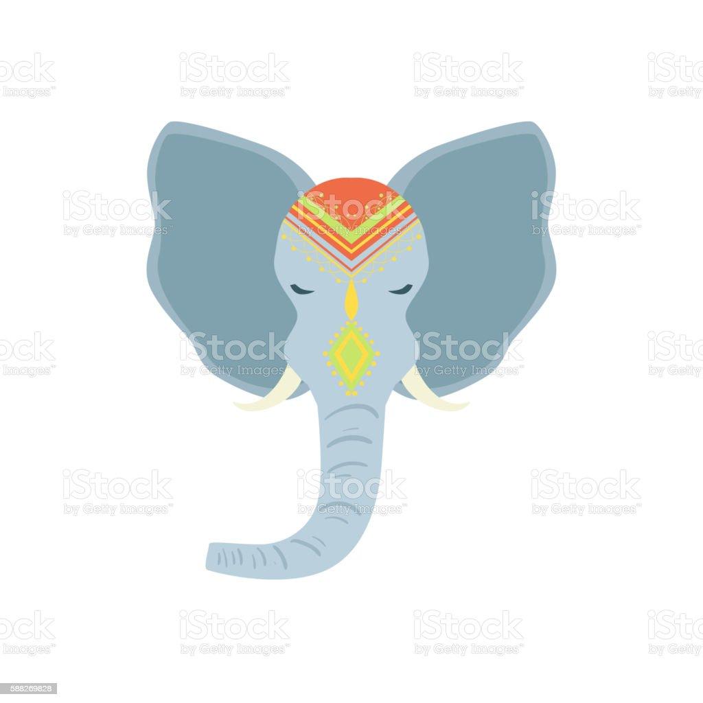 Sacred Indian Elephant Head vector art illustration