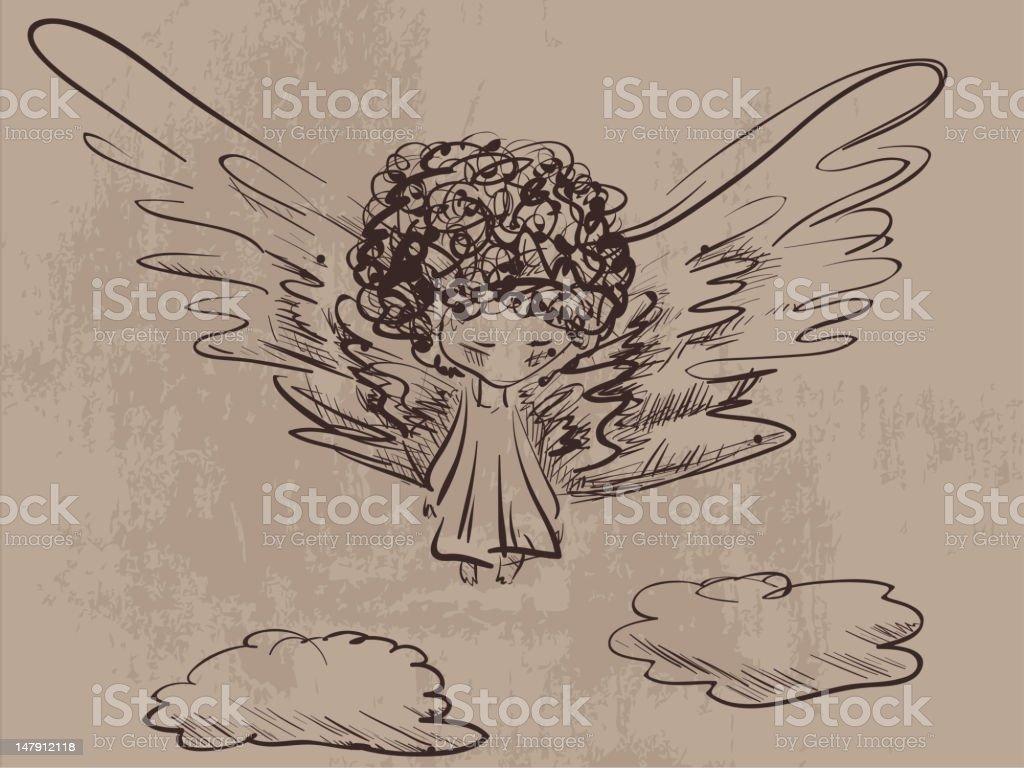 Sad angel vector art illustration