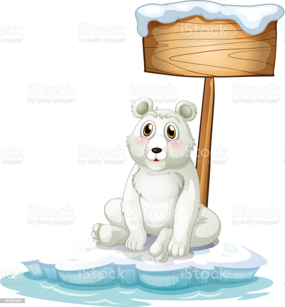Sad bear above the iceberg with an empty signboard royalty-free stock vector art