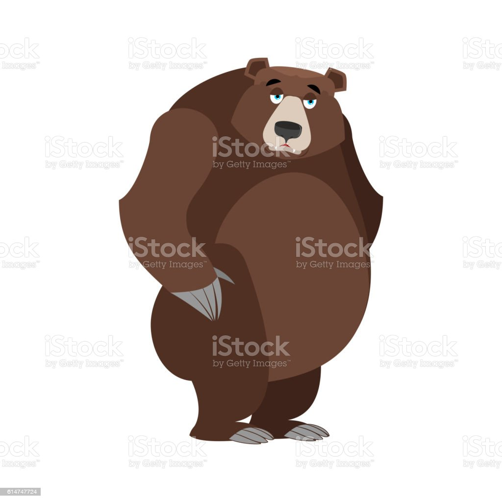 Sad bear. mournful Grizzly. tragic wild animal. Large forest bor vector art illustration