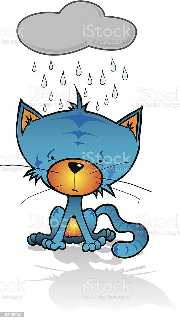 Sad Blue Cat in the Rain royalty-free stock vector art