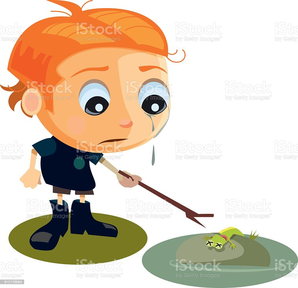 Sad Boy With Dead Frog vector art illustration