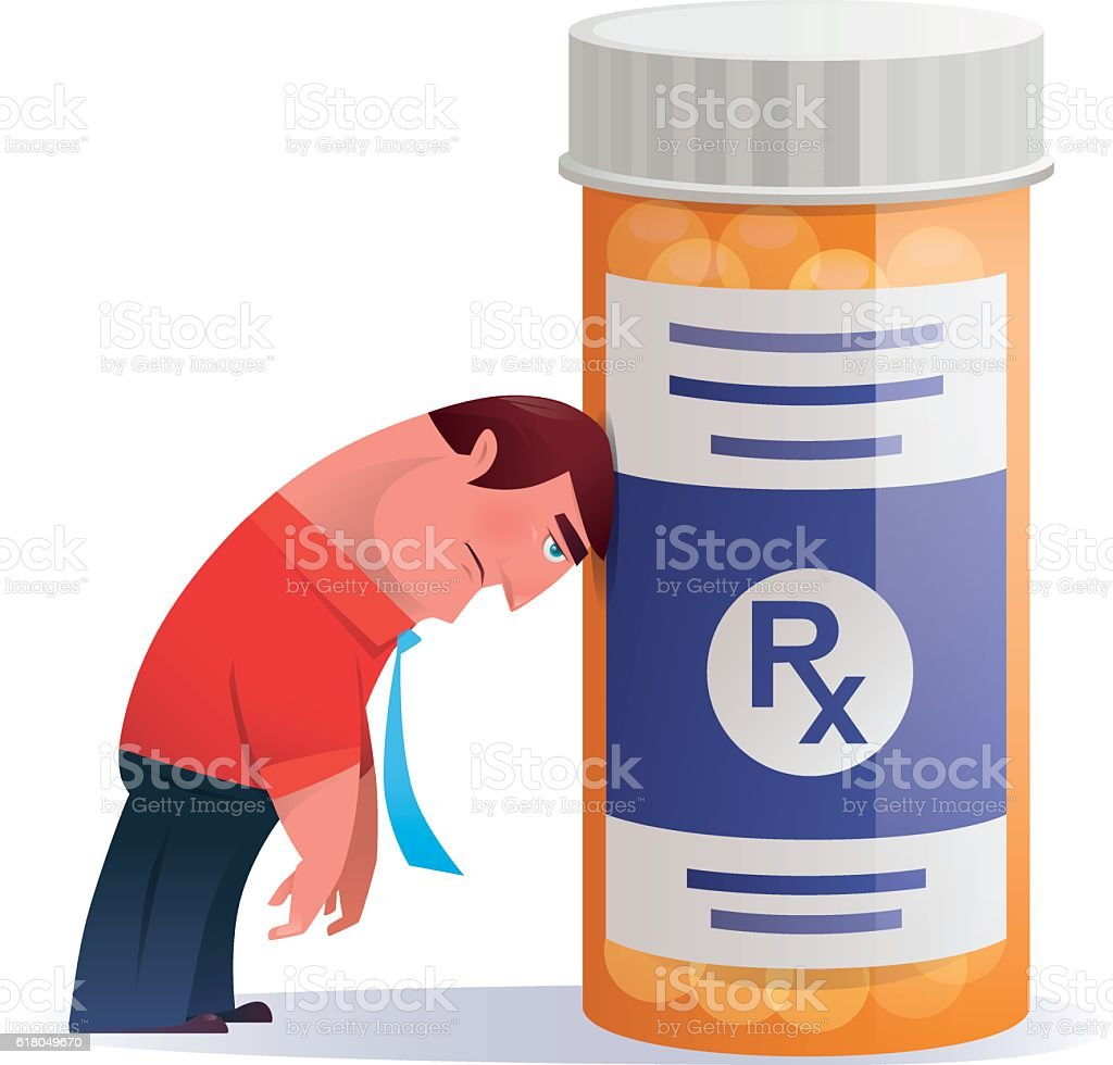 sad businessman heading on pill bottle vector art illustration