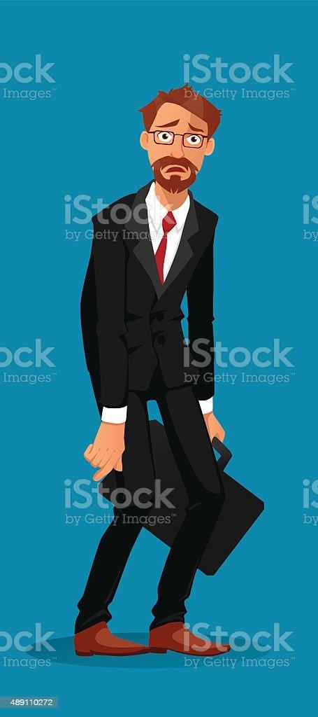 Sad businessman holding a briefcase vector art illustration