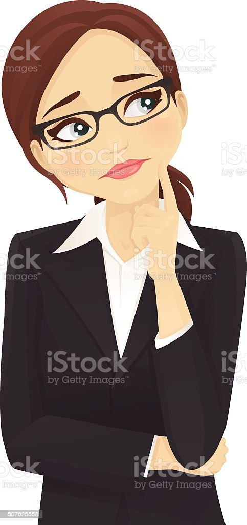 Sad businesswoman thinking vector art illustration